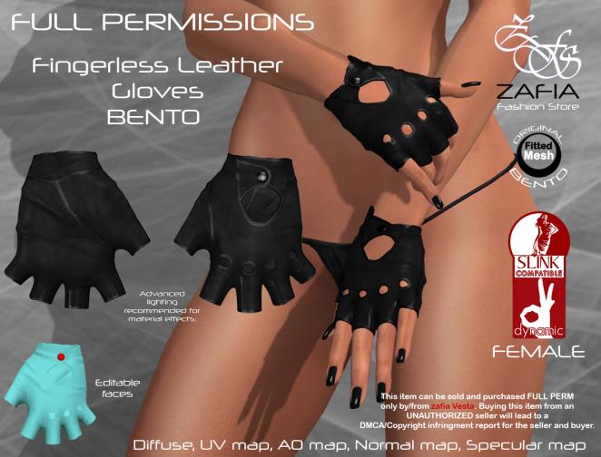 Fingerless Leather Gloves Slink Female BENTO