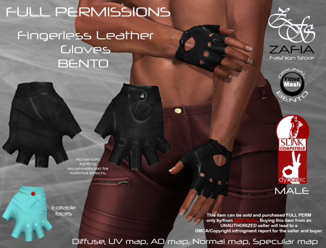 Fingerless Leather Gloves Slink Male BENTO