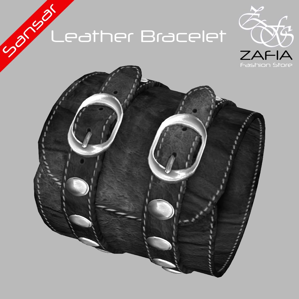 ZAFIA Leather Bracelet Black Female Sansar