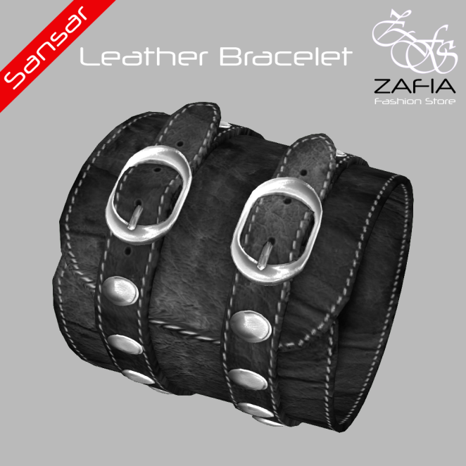 ZAFIA Leather Bracelet Black Female Sansar
