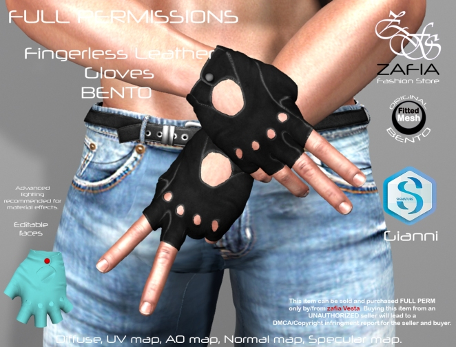 Fingerless Leather Gloves Gianni BENTO